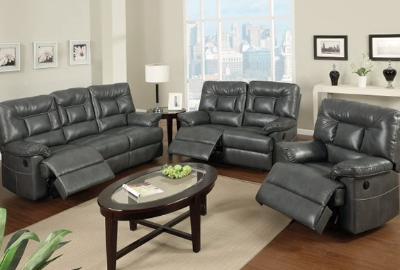 Gray Leather Sofa Set