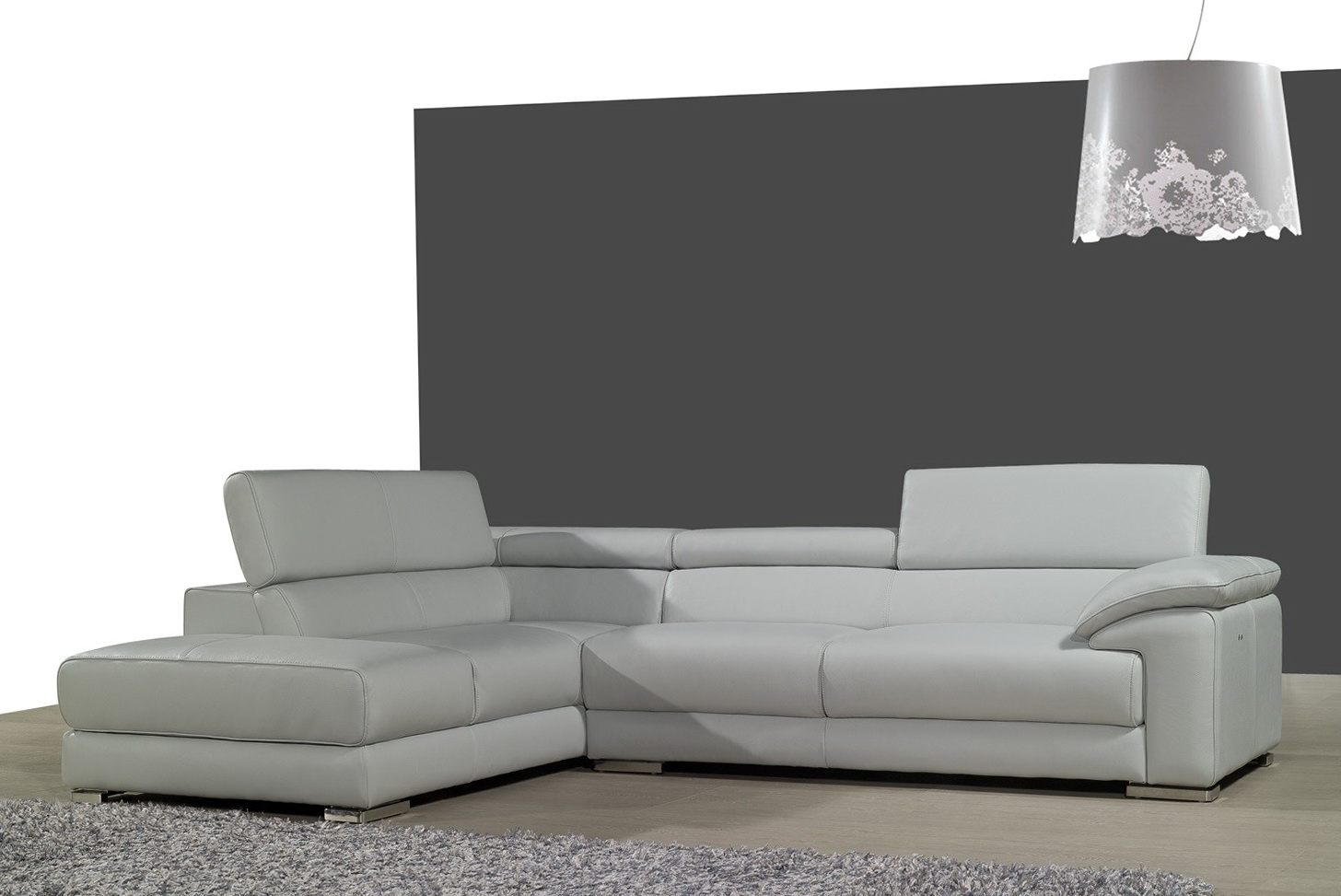 Gray Leather Sofa With Chaise