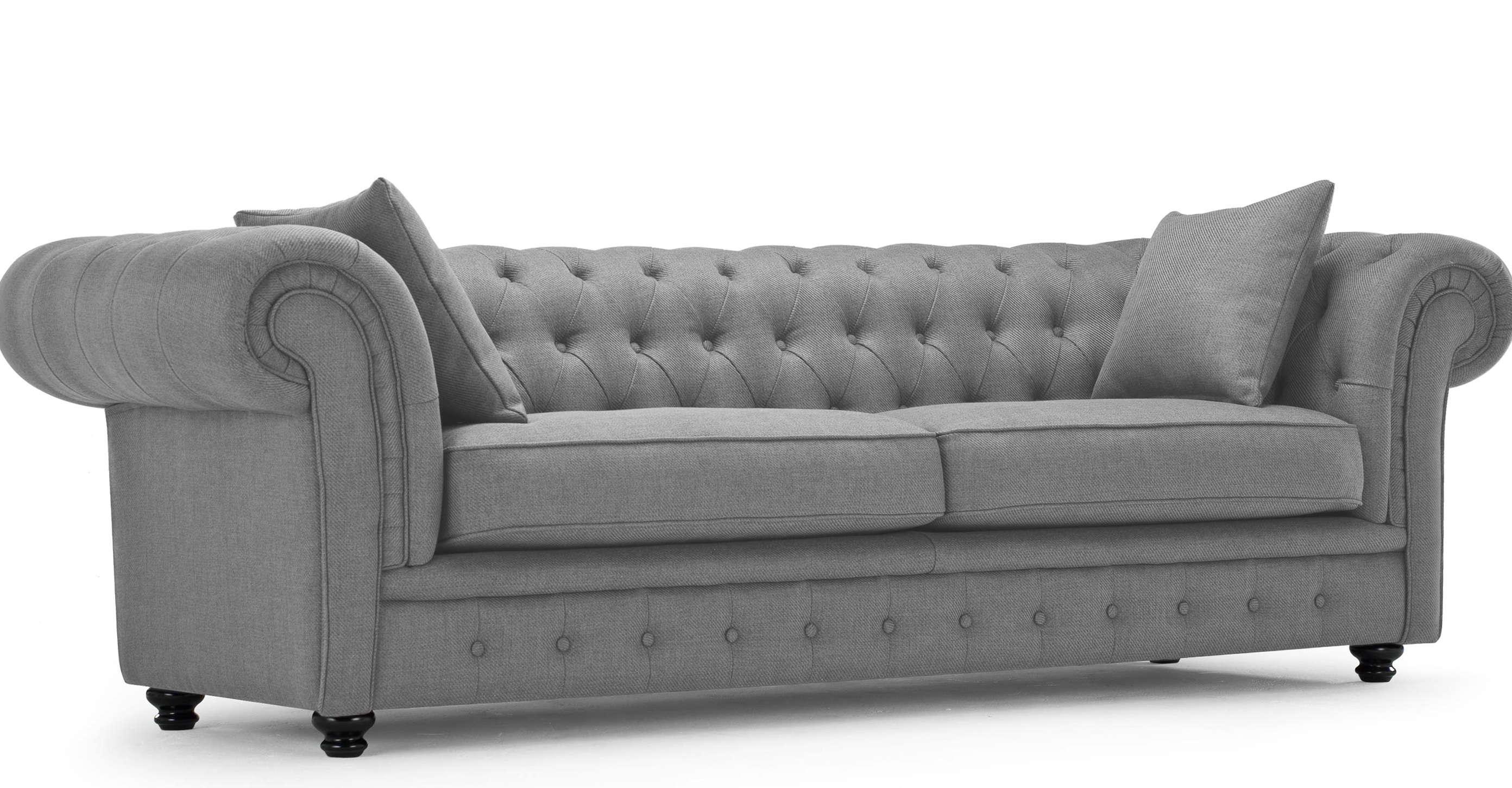 Grey Leather Chesterfield Sofa