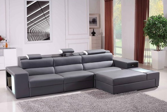 Grey Leather Sofa Set