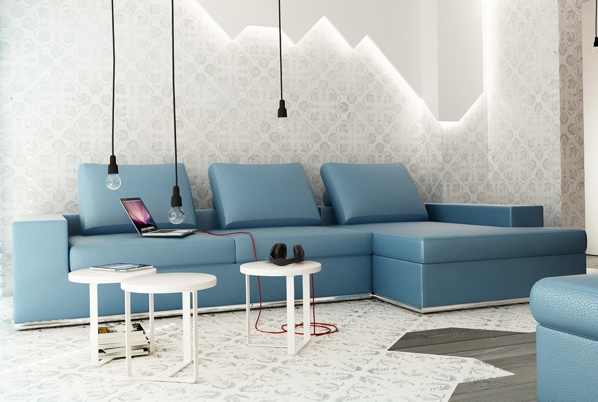 Light Blue Sectional Sofa