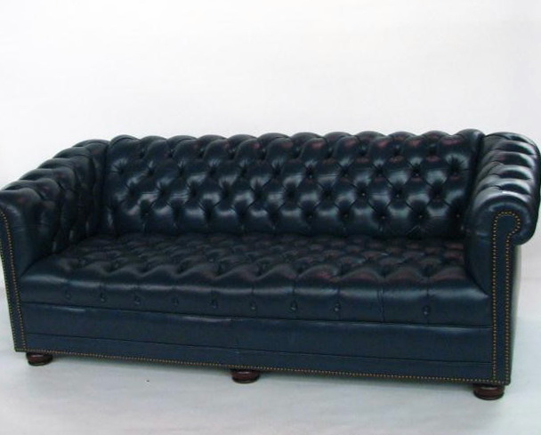 Navy Blue Leather Sofa