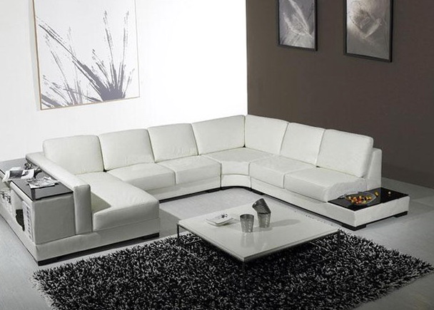 U Shaped Sectional Sofa Leather