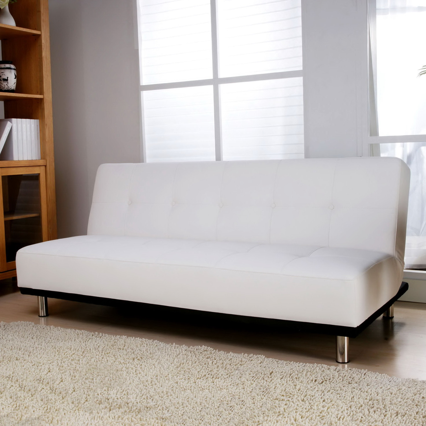 White Faux Leather Sofa