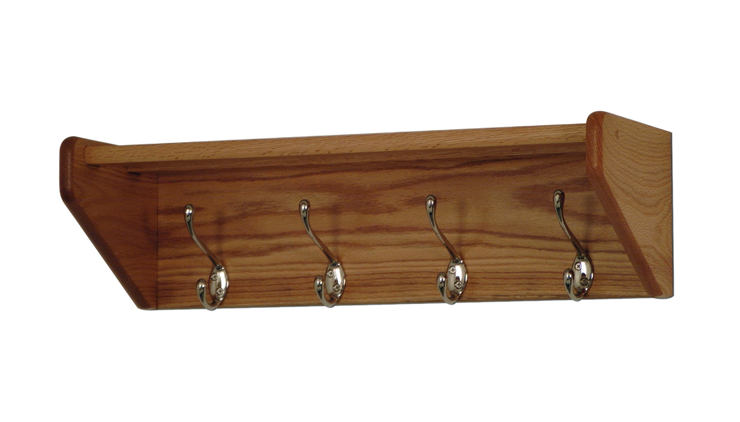 Wooden Wall Shelf With Hooks