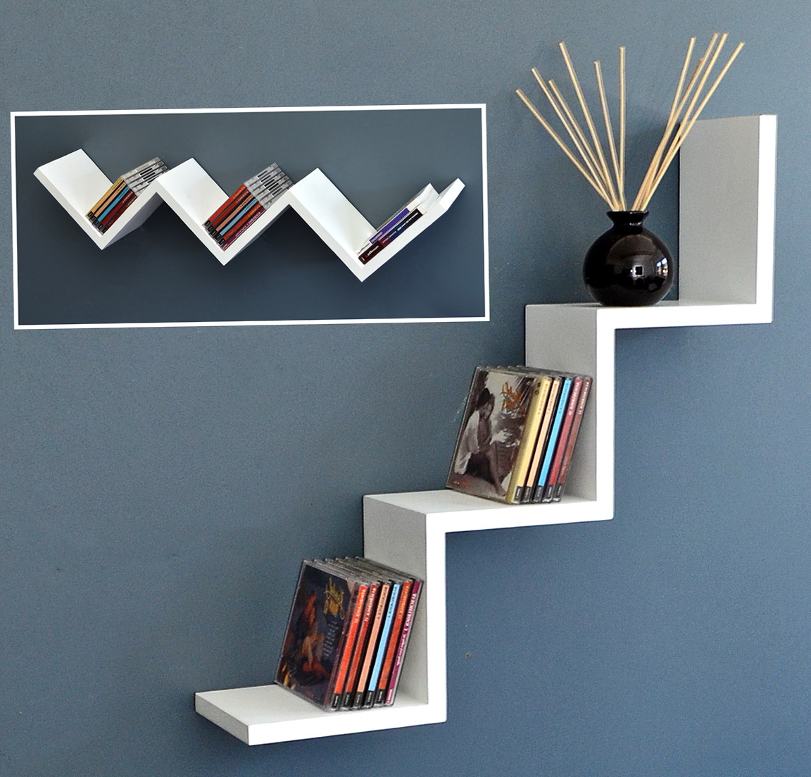 Zig Zag Wall Shelf White