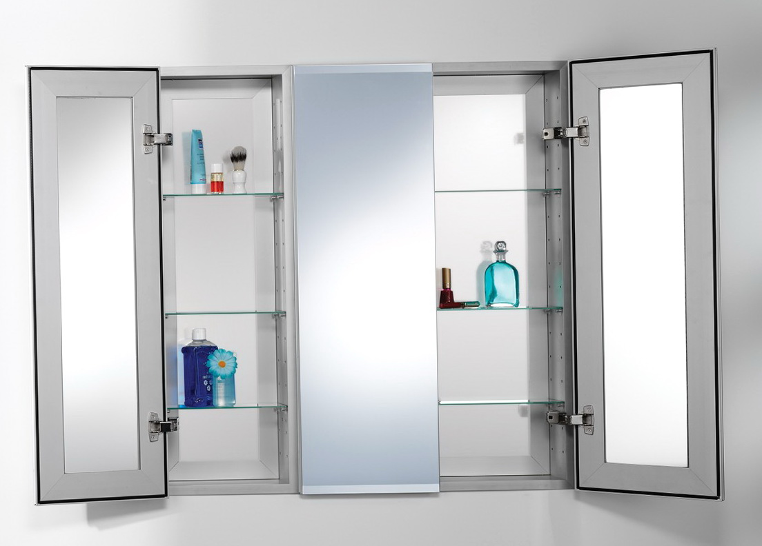 3 Mirror Medicine Cabinet With Lights