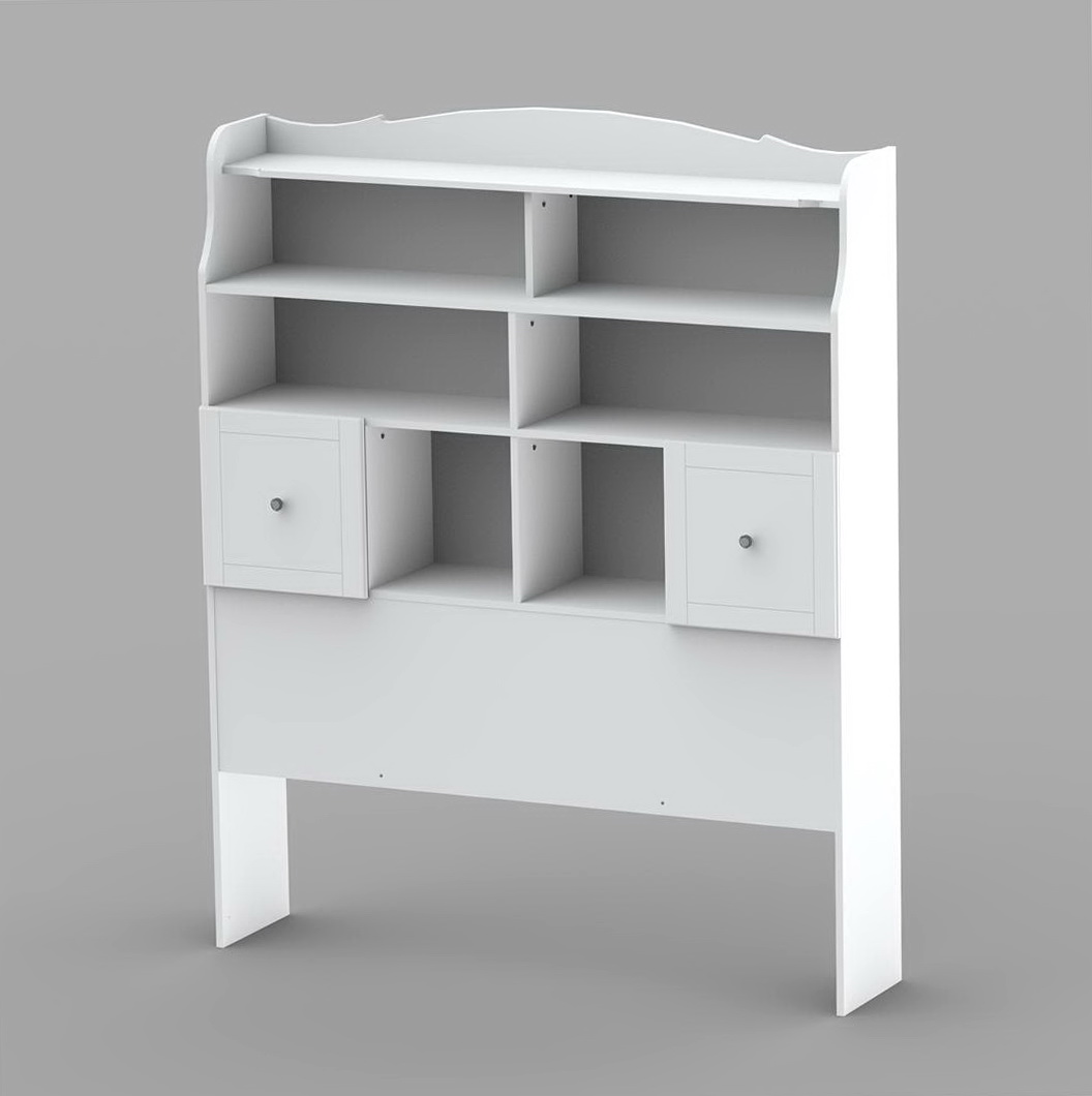 Bookcase Headboard Queen White
