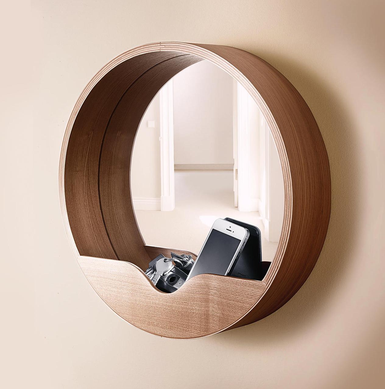 Oak Wall Mirror With Shelf