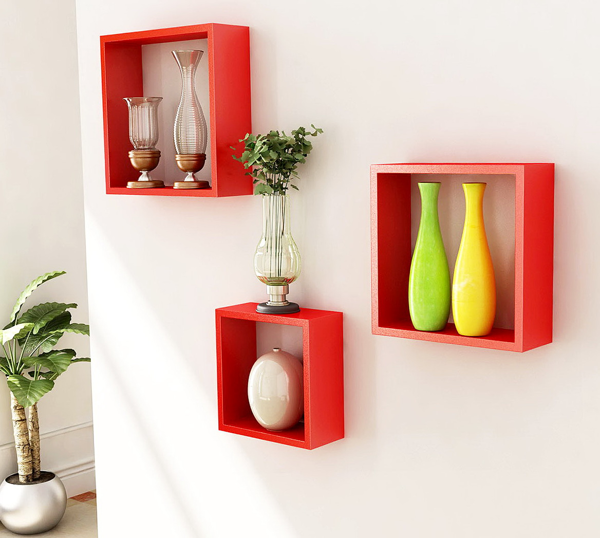 Wall Cube Shelves Wood
