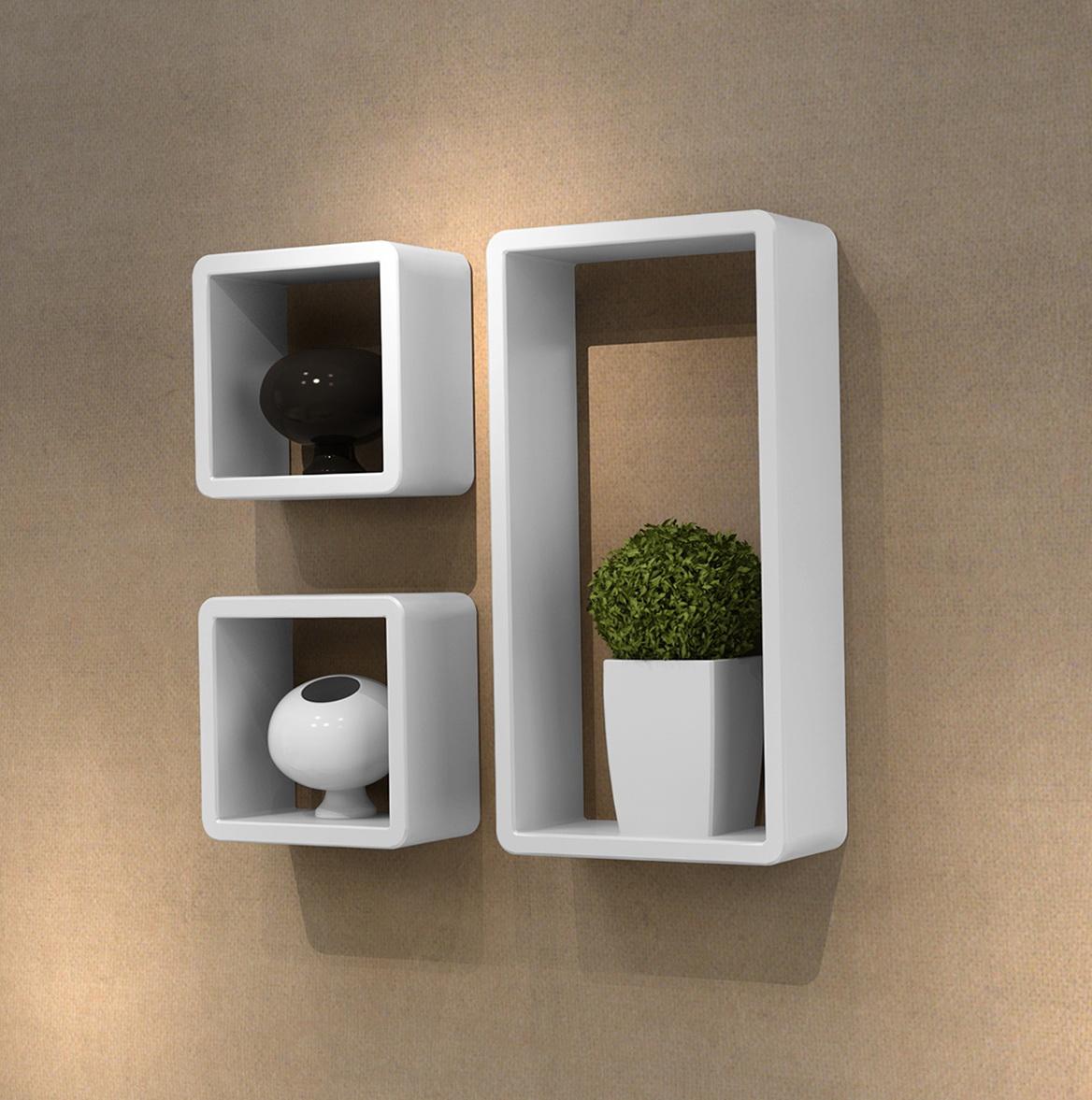 White Wall Cube Shelves