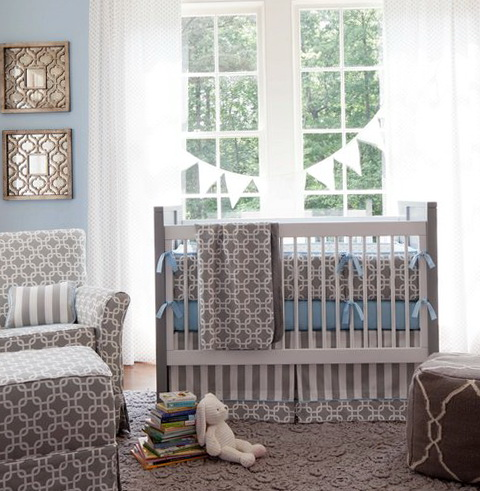 Gray And White Chevron Baby Bedding