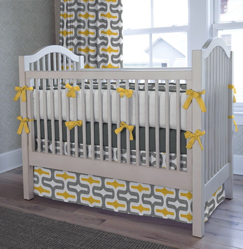 Gray And Yellow Bedding Nursery