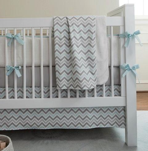 Gray Chevron Baby Bedding