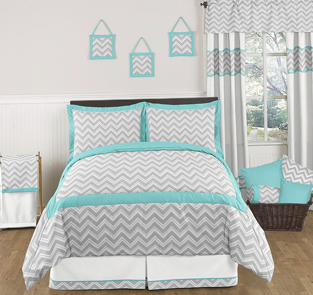 Grey And Tiffany Blue Bedding