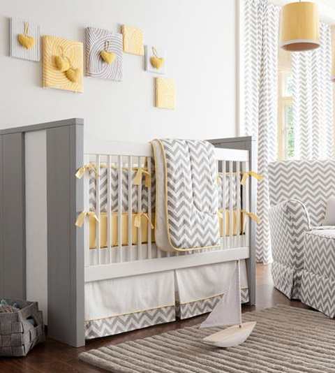 Grey And White Chevron Baby Bedding