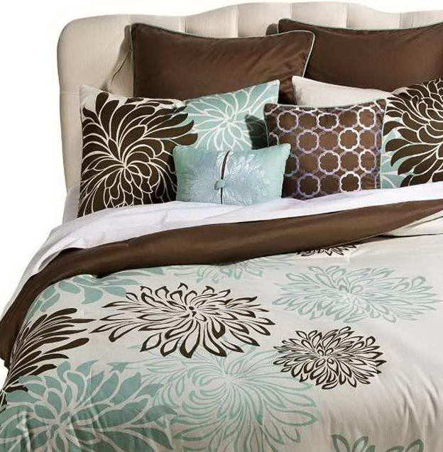 Light Blue And Brown Bedding