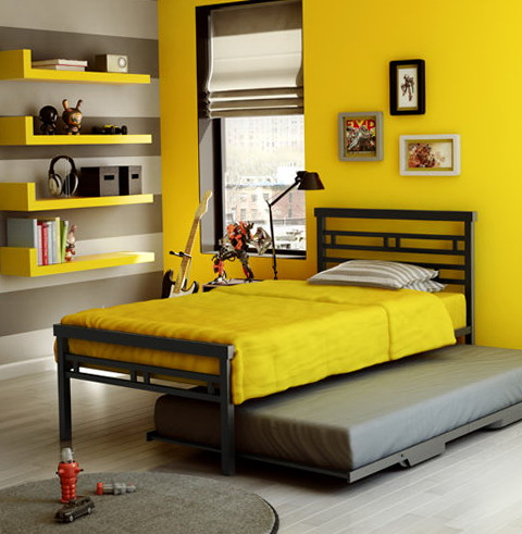 Metal Twin Bed With Trundle
