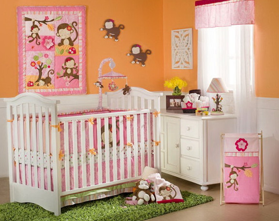 Monkey Girl Crib Bedding Sets