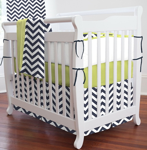 Navy Chevron Crib Bedding