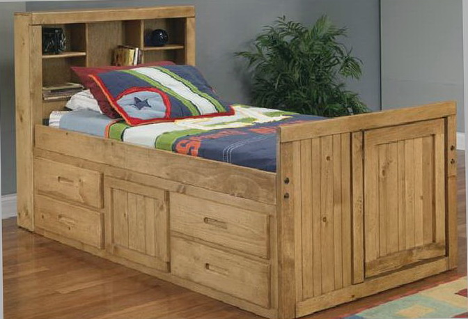 Oak Twin Captains Bed