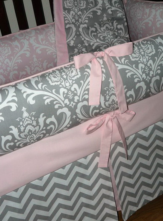 Pink And Gray Chevron Baby Bedding