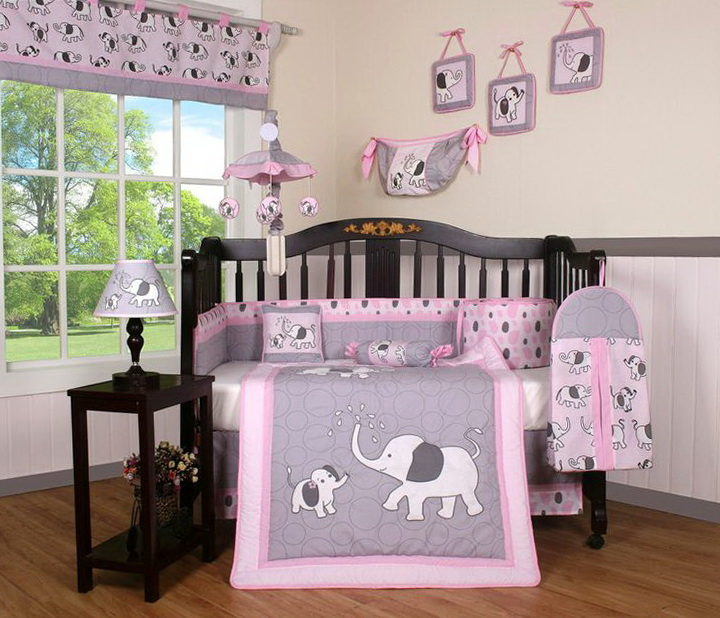 Pink And Gray Elephant Crib Bedding