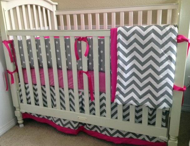 Pink Chevron Baby Bedding