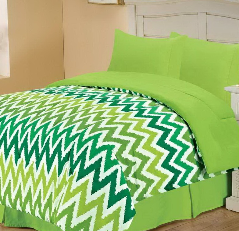 Purple And Lime Green Bedding