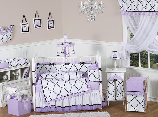 Purple Chevron Crib Bedding