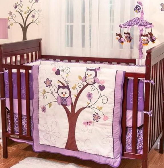 Purple Owl Baby Bedding