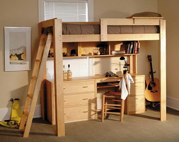 Queen Size Loft Bed With Desk