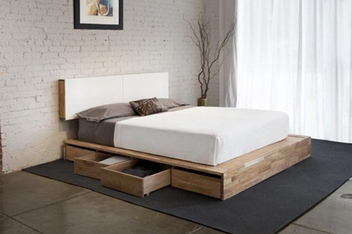 Queen Size Platform Storage Bed