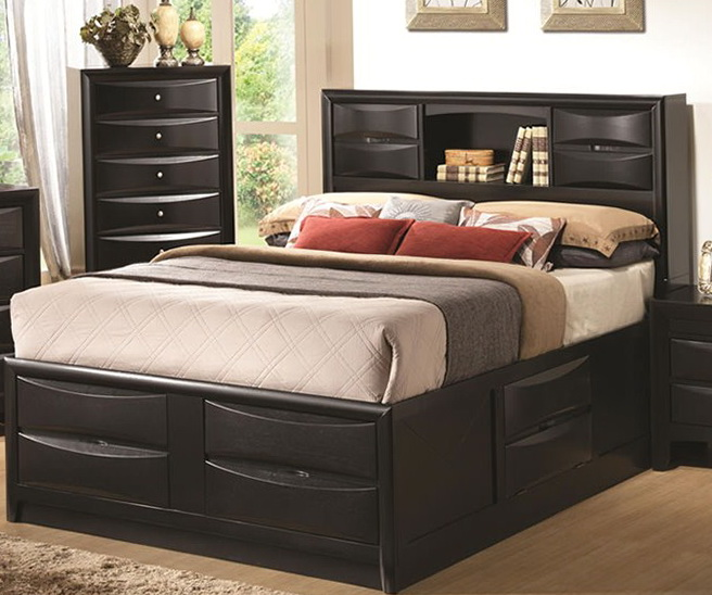 Queen Storage Bed Upholstered Headboard