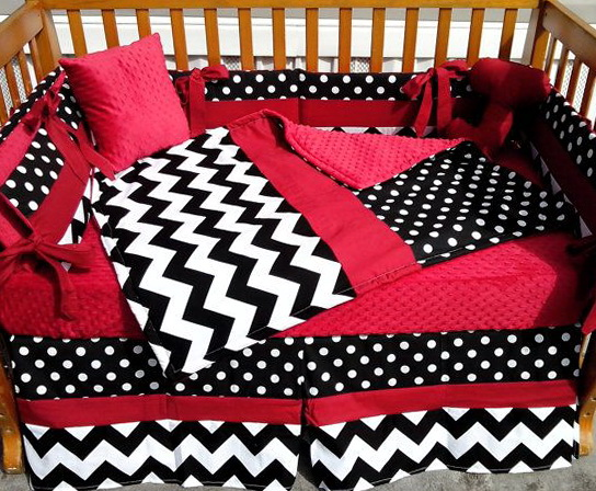 Red Black And White Chevron Bedding