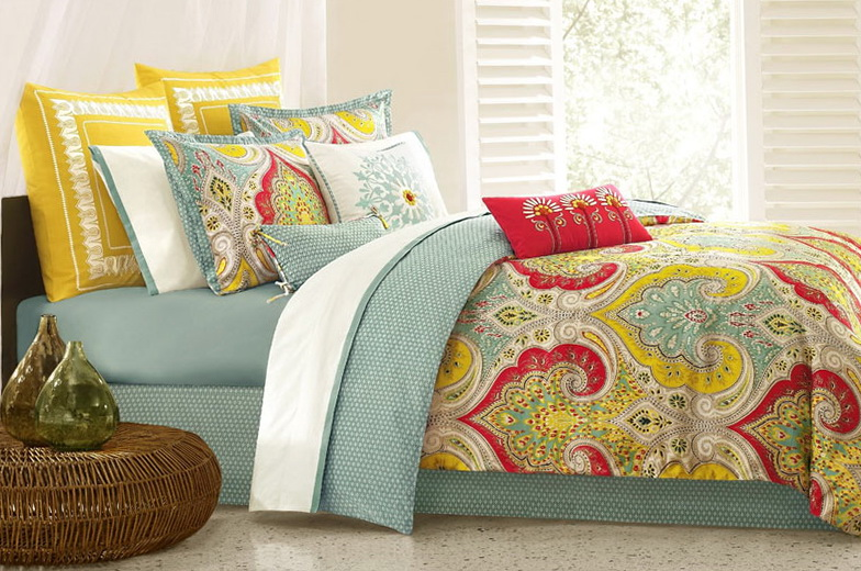 Turquoise Yellow And Gray Bedding
