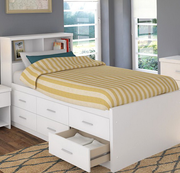 Twin Bed With Storage Drawers And Bookcase Headboard