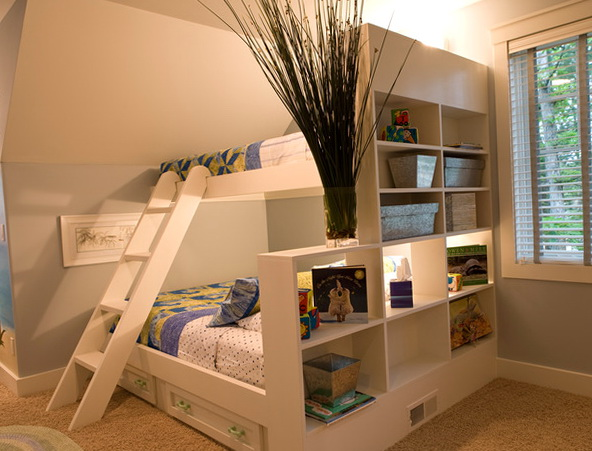 White Bunk Beds With Shelves