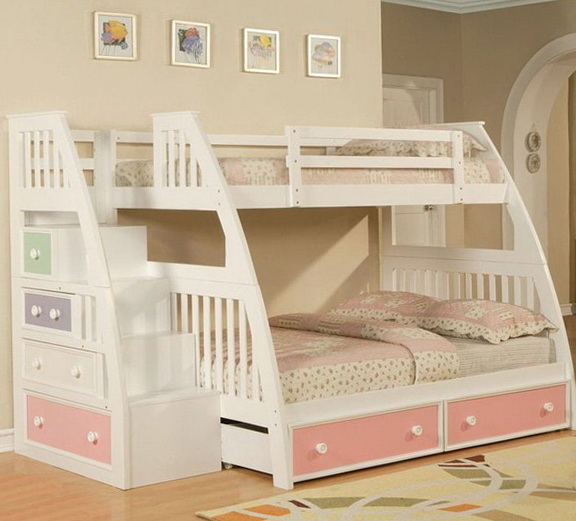 White Full Over Full Bunk Beds With Stairs