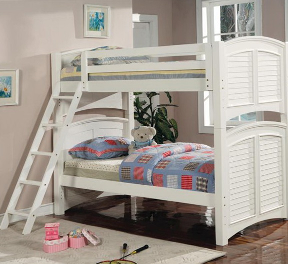 White Full Over Full Bunk Beds