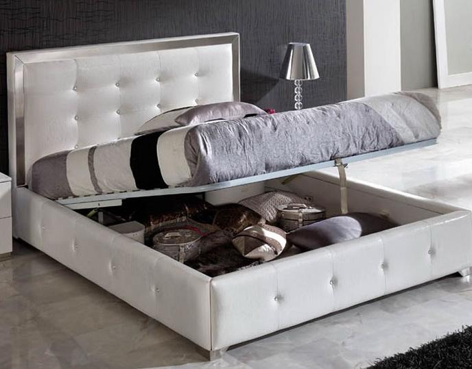 White Platform Bed With Storage