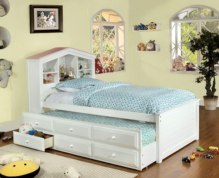 White Twin Bed With Drawers
