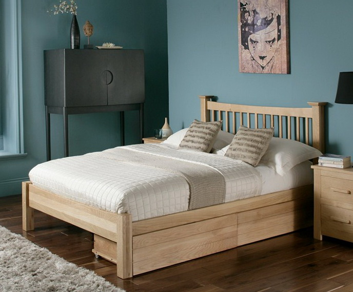 Wood Bed Frame With Drawers