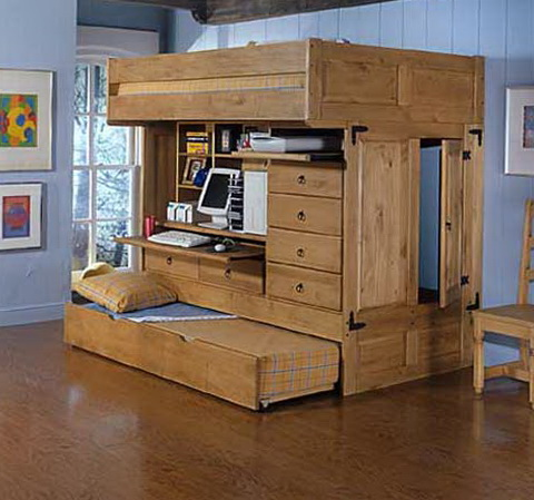 Wooden Bunk Beds With Trundle