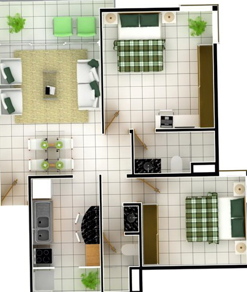 2 Bedroom Apartments Layout