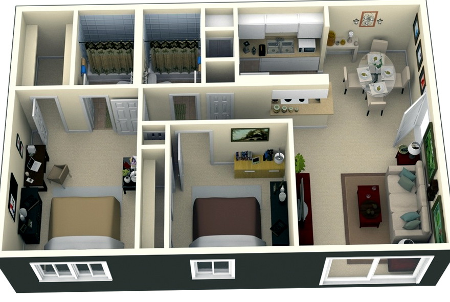 2 Bedroom Apartments Plans