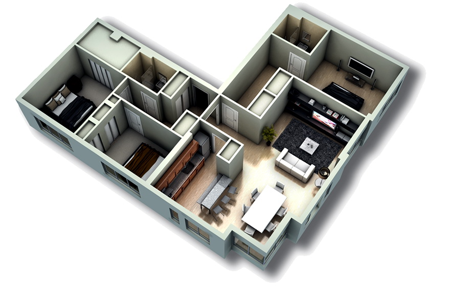 3 Bedroom Apartments Layout