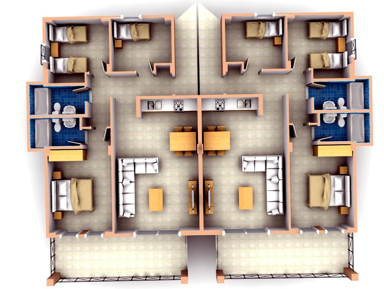 3 Bedroom Apartments Plans