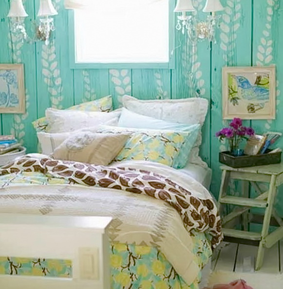 Shabby Chic Bedroom Green