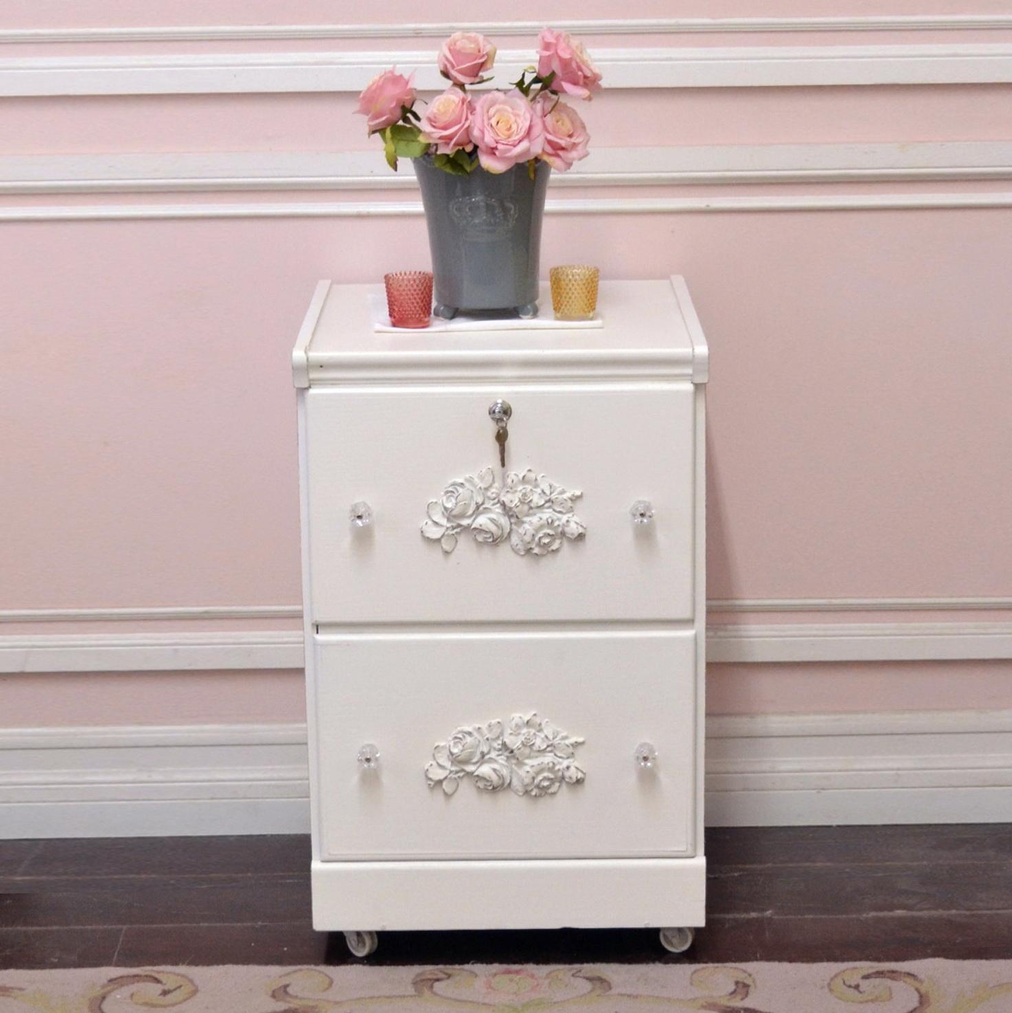 2 Drawer White File Cabinet
